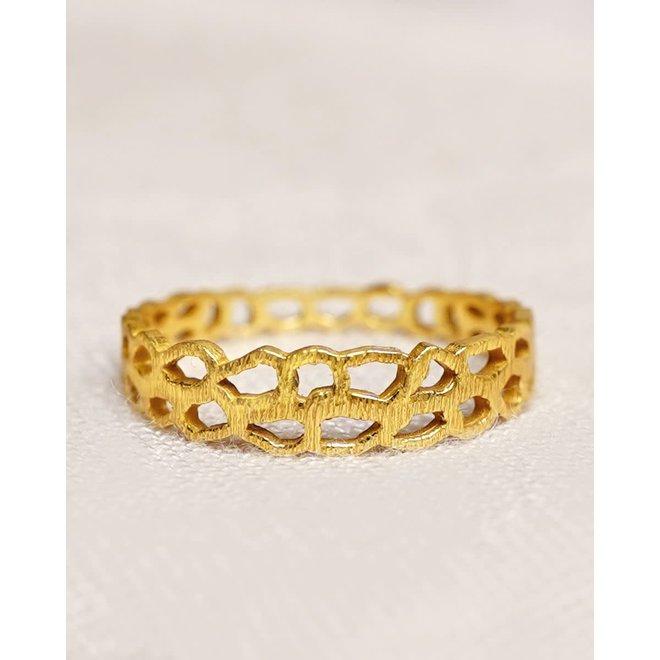 Muja Juma - ring - size 54 beehive gold plated