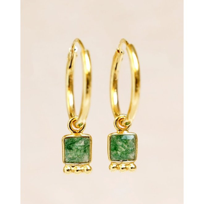 Muja Juma - oorbellen - hoop moss agate square and dots gold plated