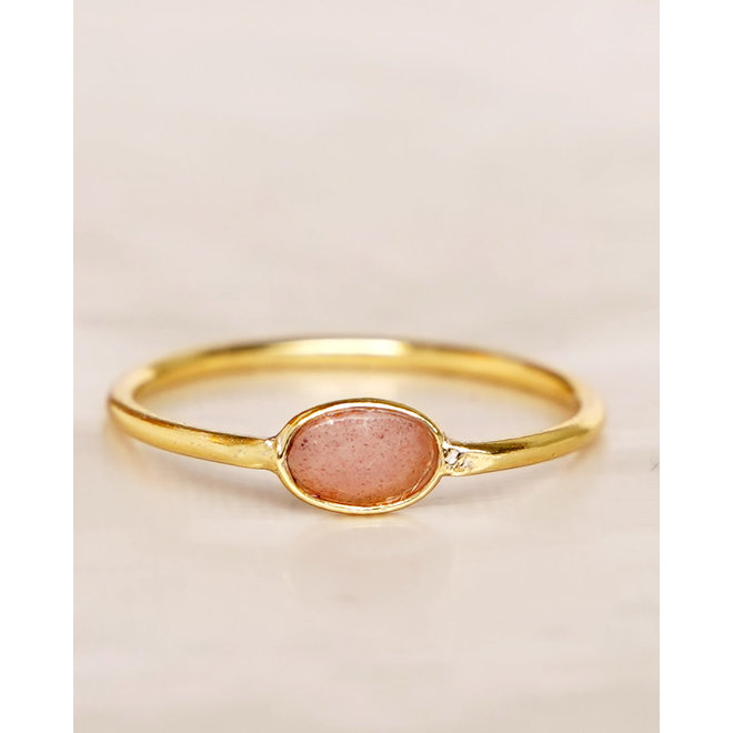 Muja Juma - Ring - size 54 peach mst basic oval gold pl.