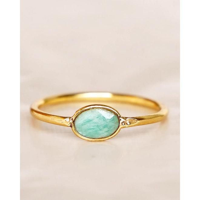 Muja Juma - Ring - size 54 amazonite basic oval gold pl.