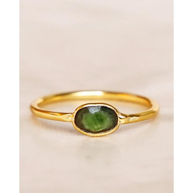 Muja Juma - Ring - size 54 nefrite basic oval gold pl.