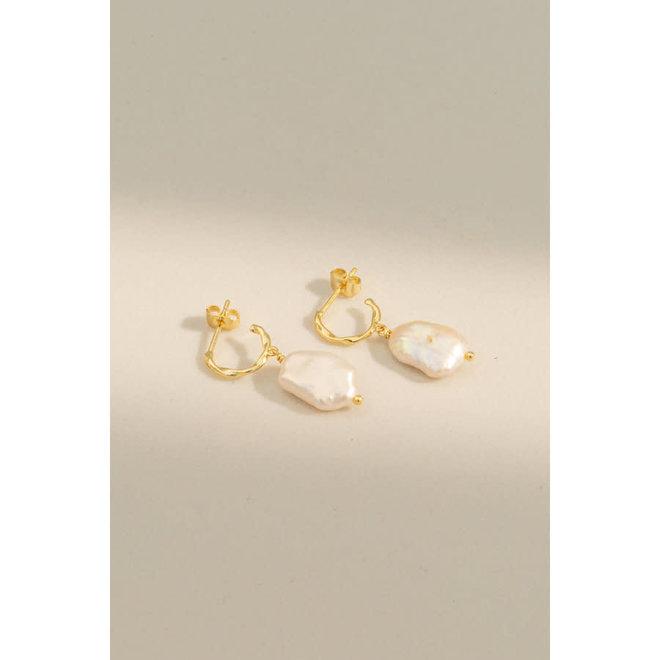 Oorbellen - Perle Hoops - Verguld
