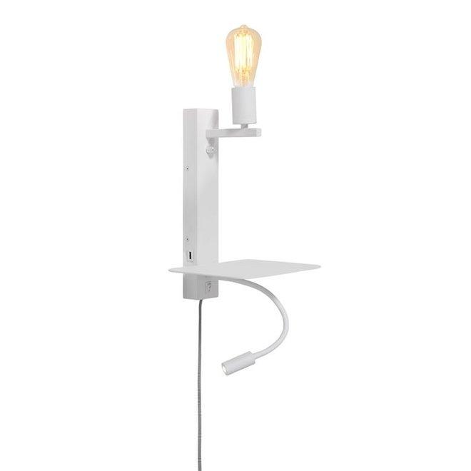 Wandlamp Florence met leeslamp+ USB - WIT