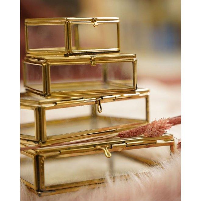 Glazen box rechthoek Medium- Goudkleurig