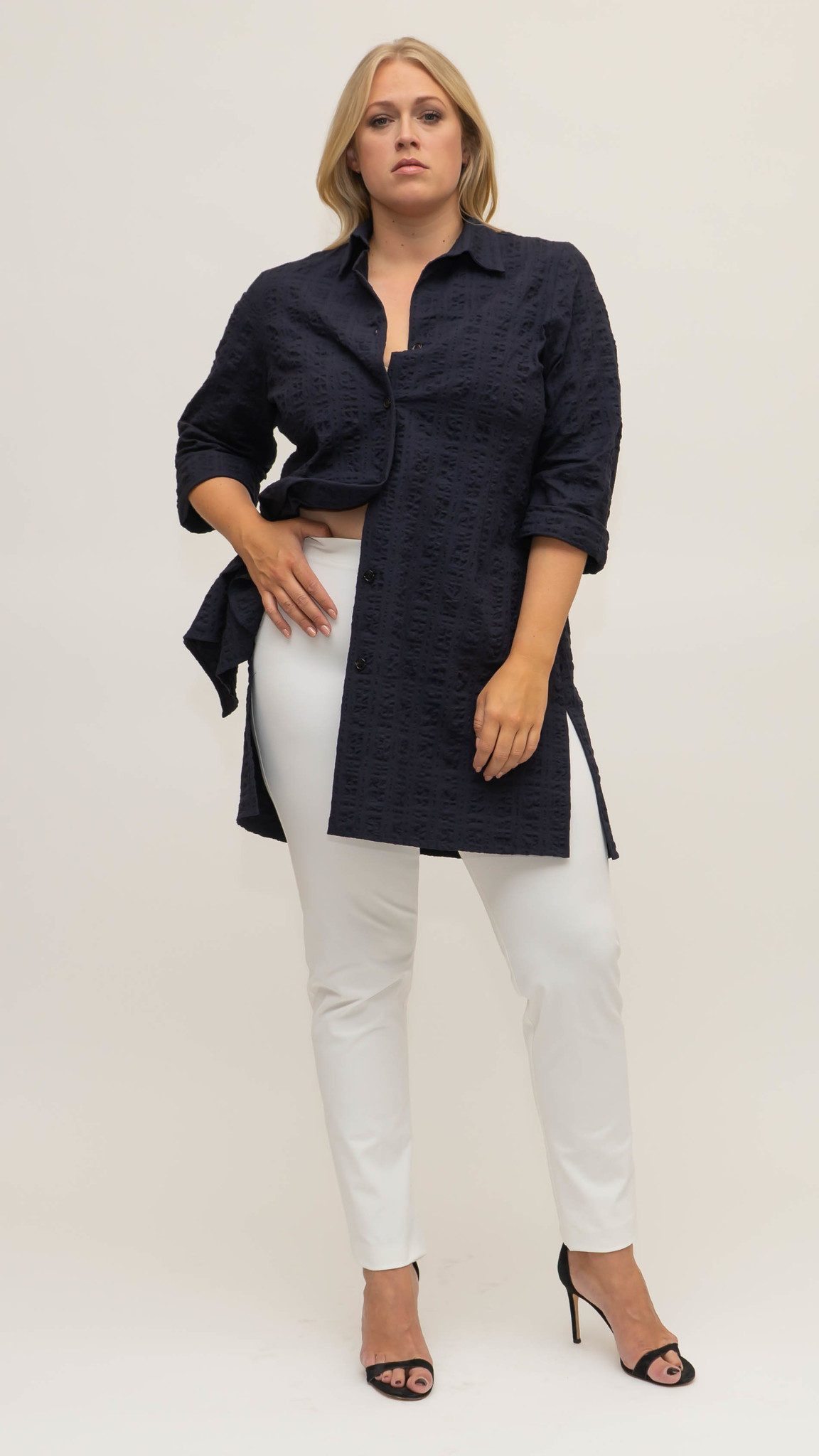BETTINA Blouse in Cotton Seersucker-2