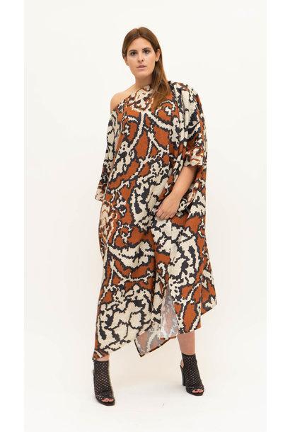 SAHARA Kleid aus bedrucktem Leinen
