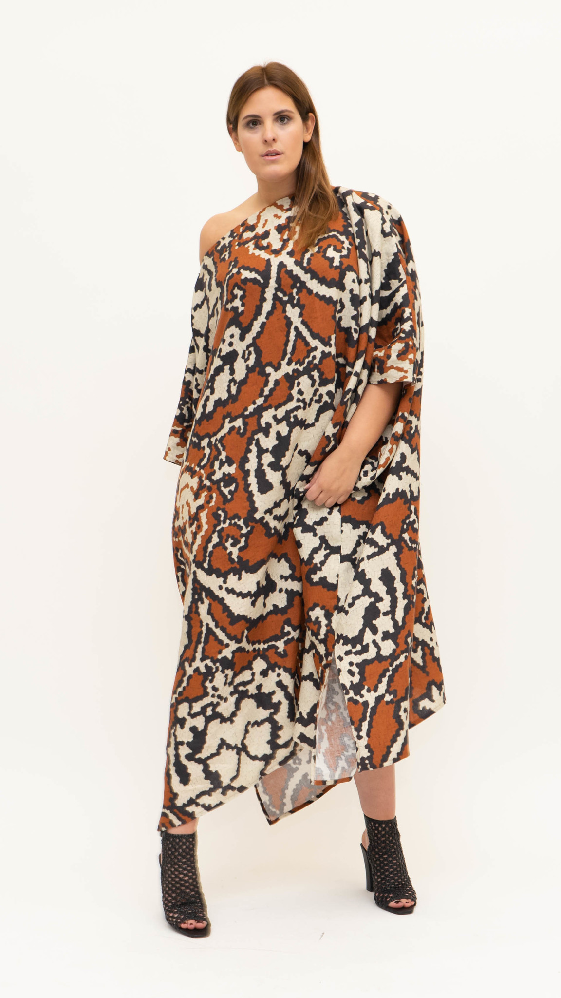 Sahara Dress in printed Linnen-1