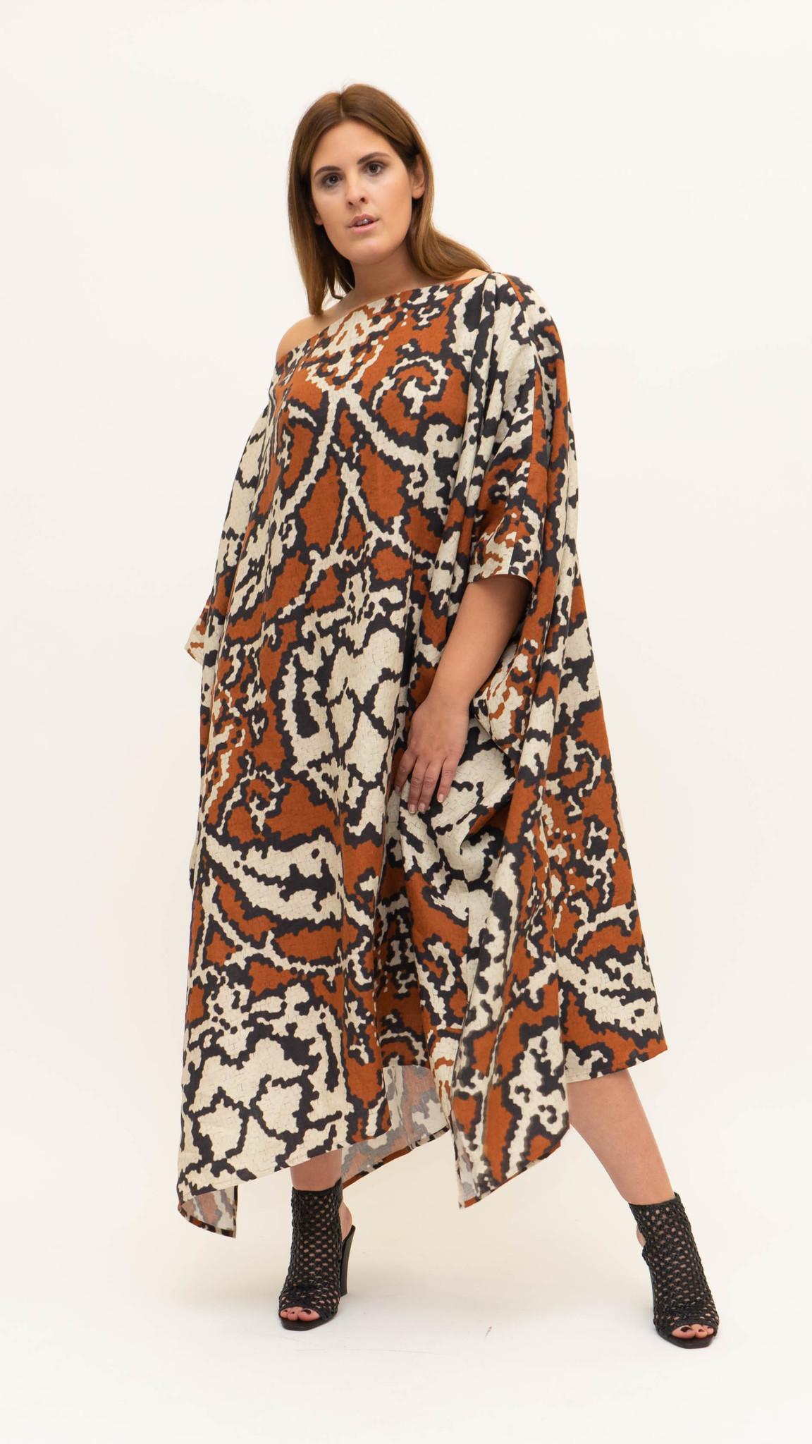 Sahara Dress in printed Linnen-2