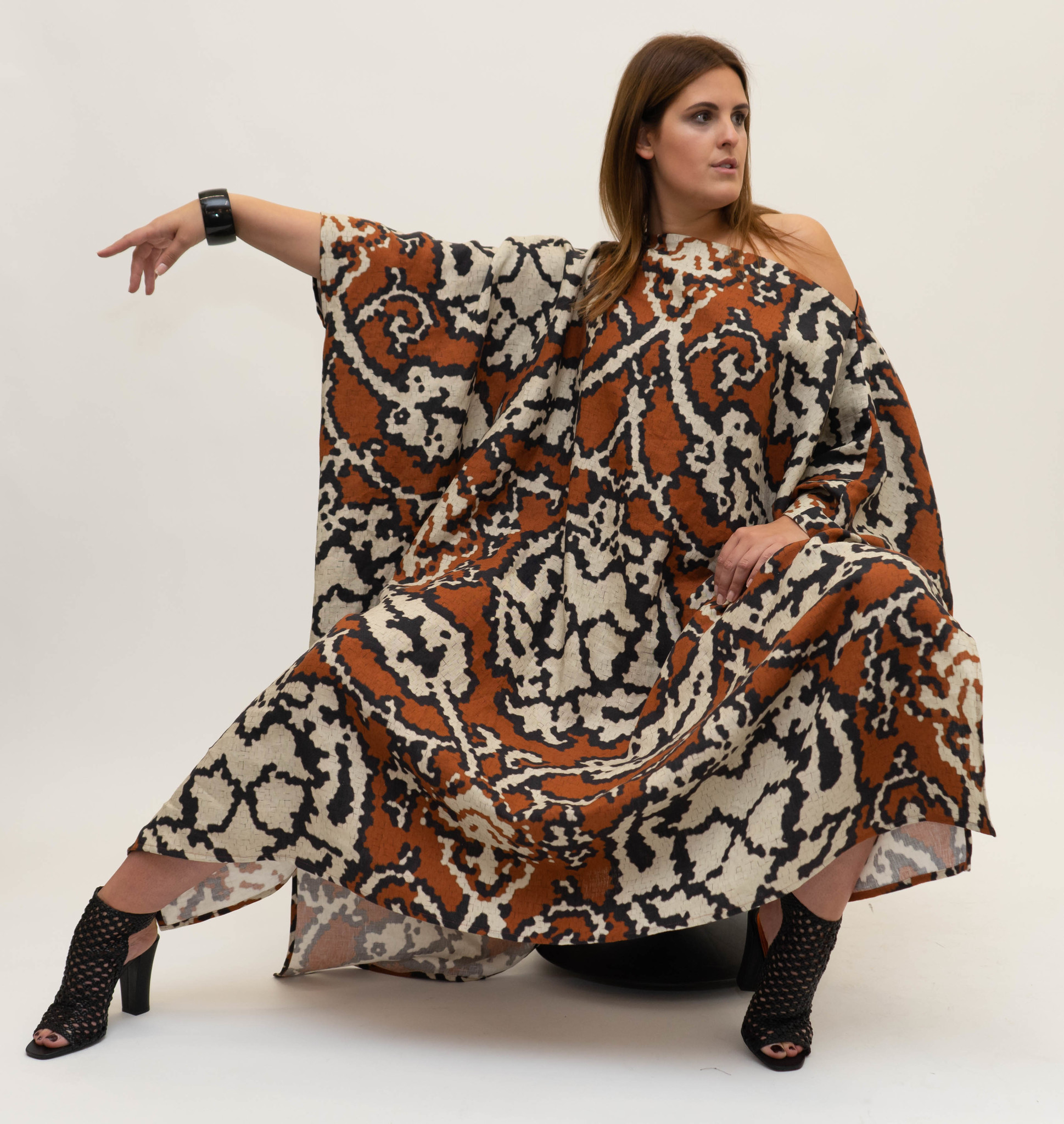 SAHARA Dress in printed Linnen-4