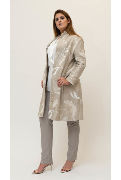 MARTINA long Jacket in embroidered Linen