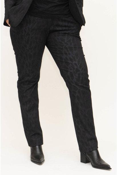 LENA Trousers in leopard printed Denim