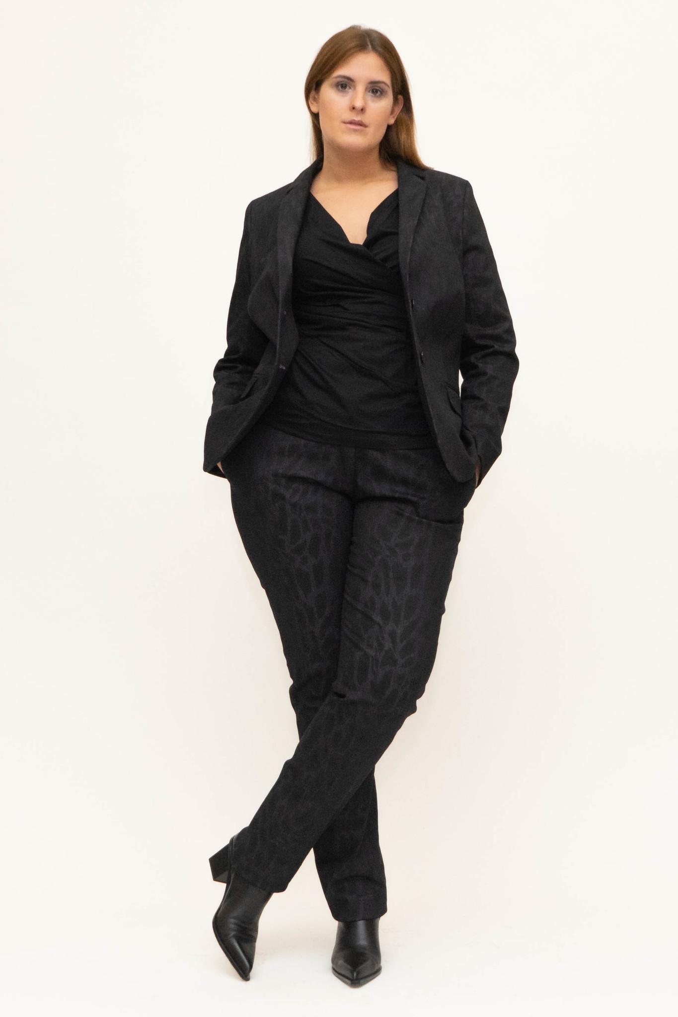 LENA Blazer in Leopard printed Denim-2