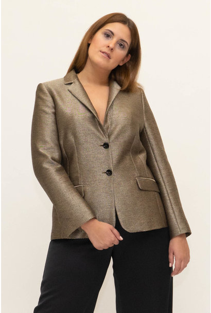 AAILYAH Blazer in Gold basket weave Cotton