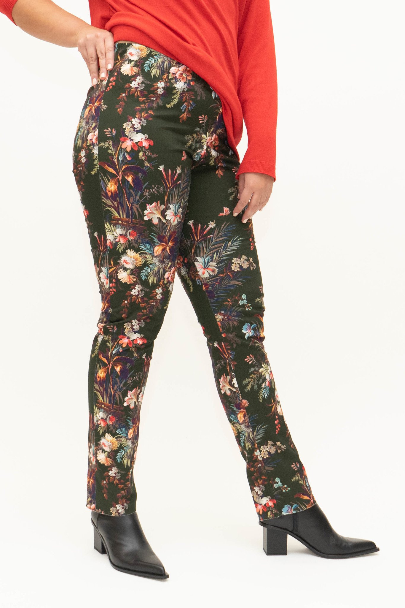 DAVINIA Trousers in printed Cotton stretch-1