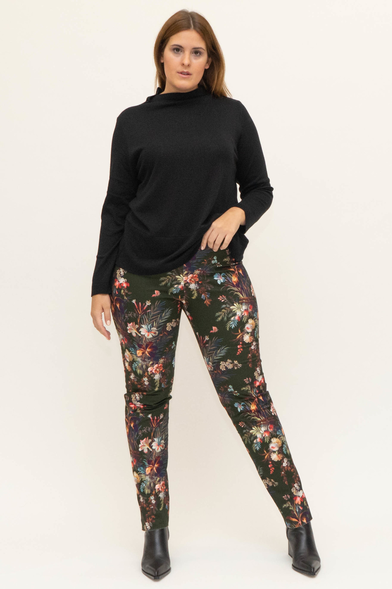 DAVINIA Trousers in printed Cotton stretch-2