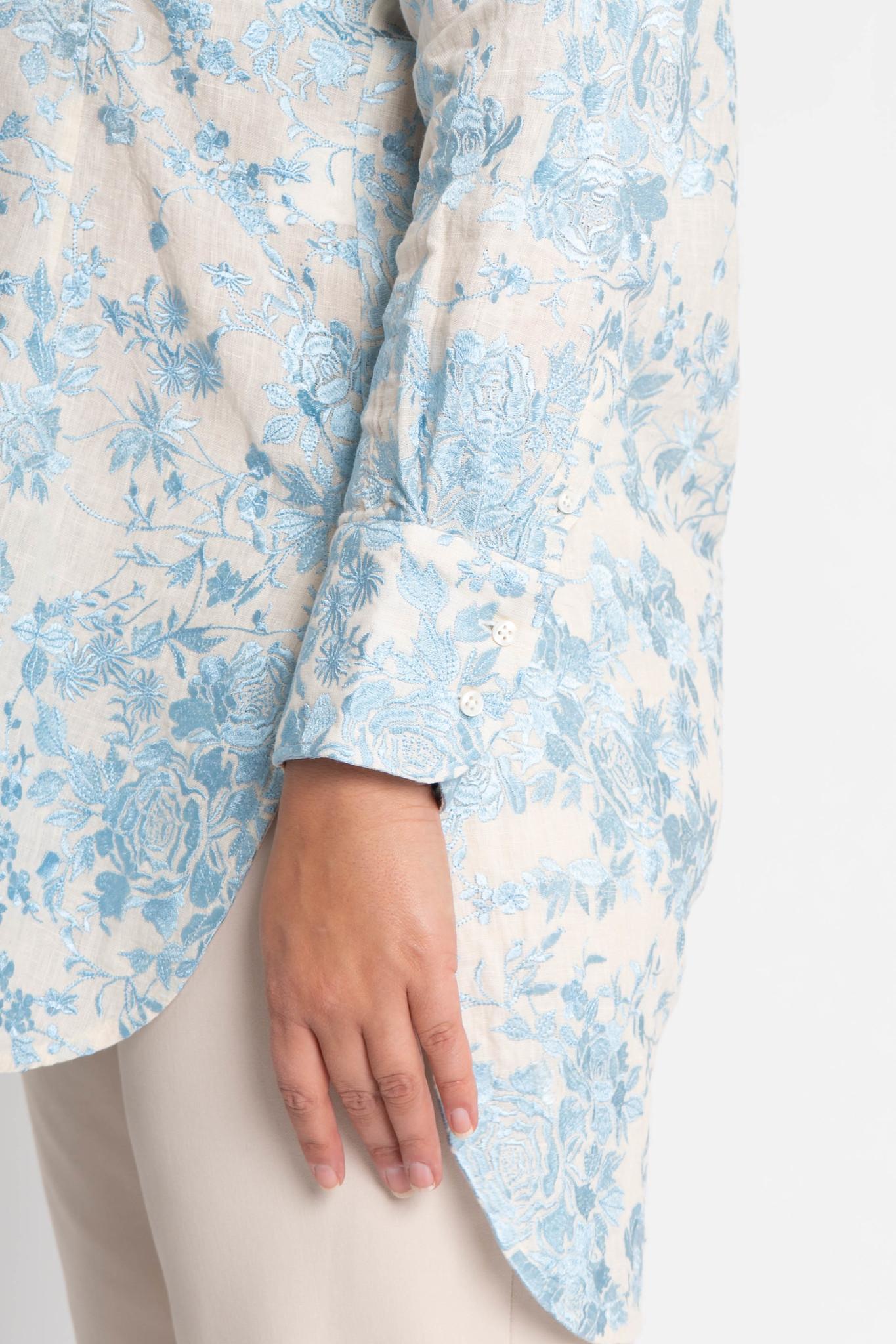 GALINA Bluse aus bestickter Leinen-3