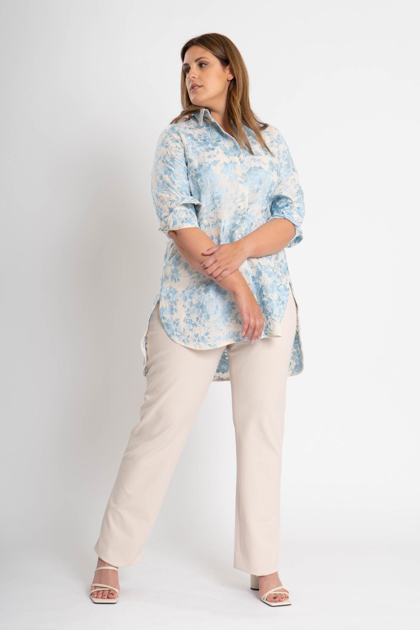 GALINA Bluse aus bestickter Leinen-2