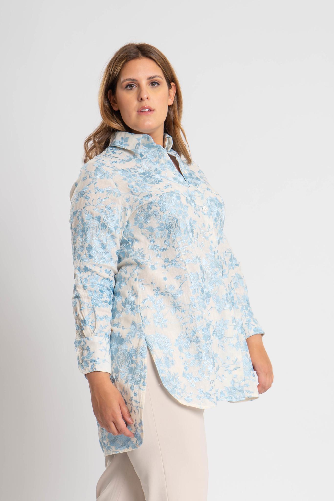 GALINA Bluse aus bestickter Leinen-1