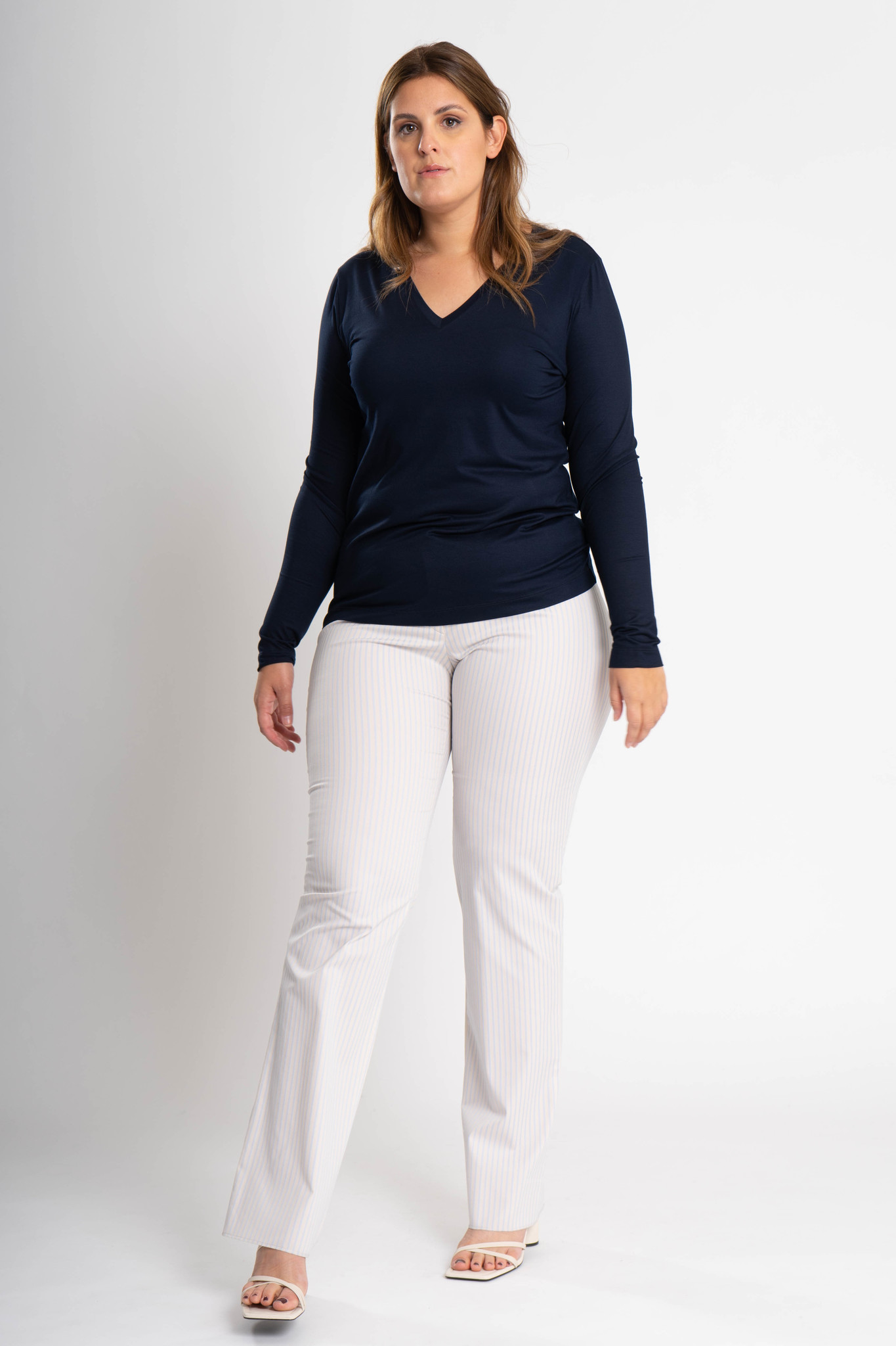 ZWOLF Trousers in striped stretch cotton mix-2