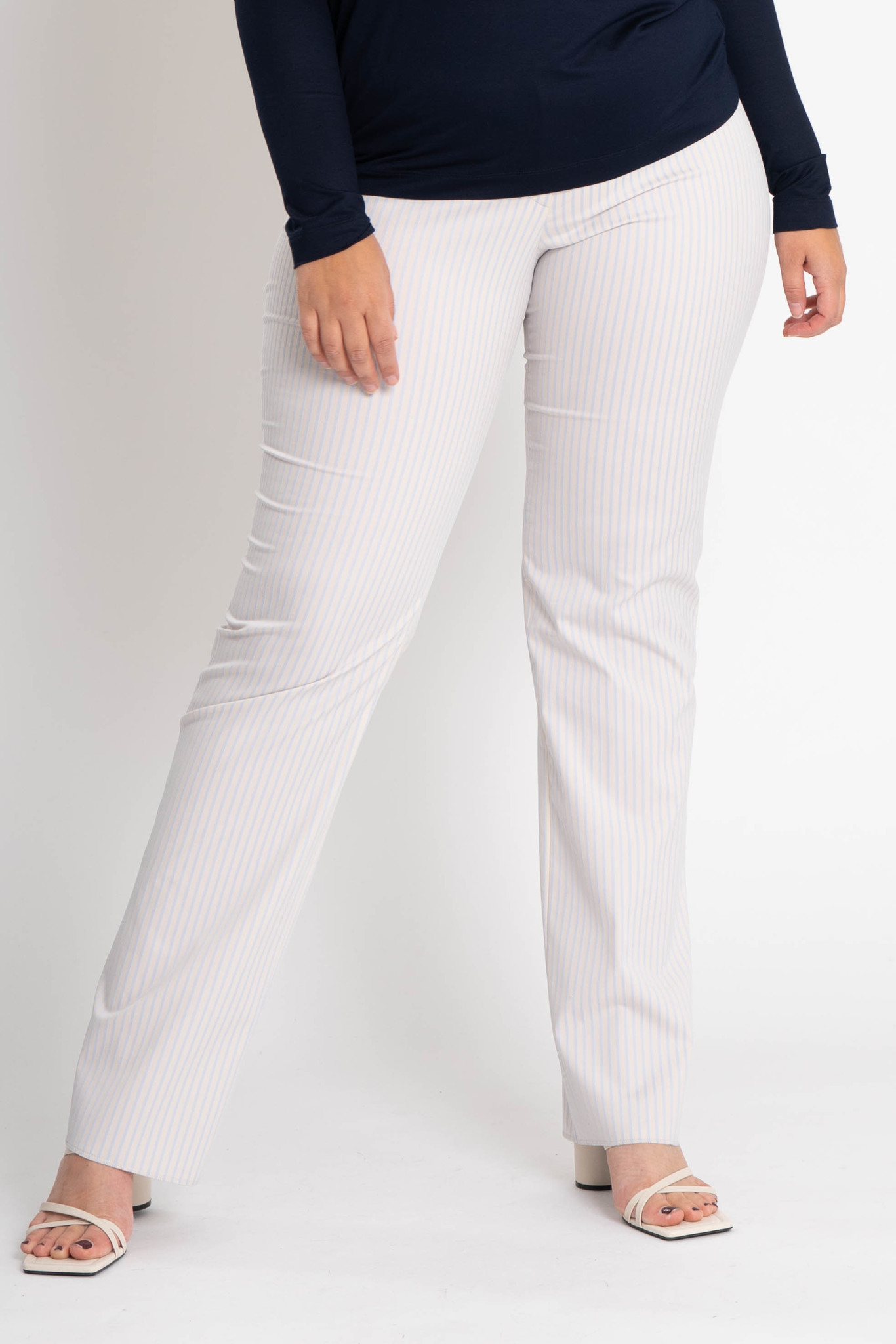 ZWOLF Trousers in striped stretch cotton mix-1