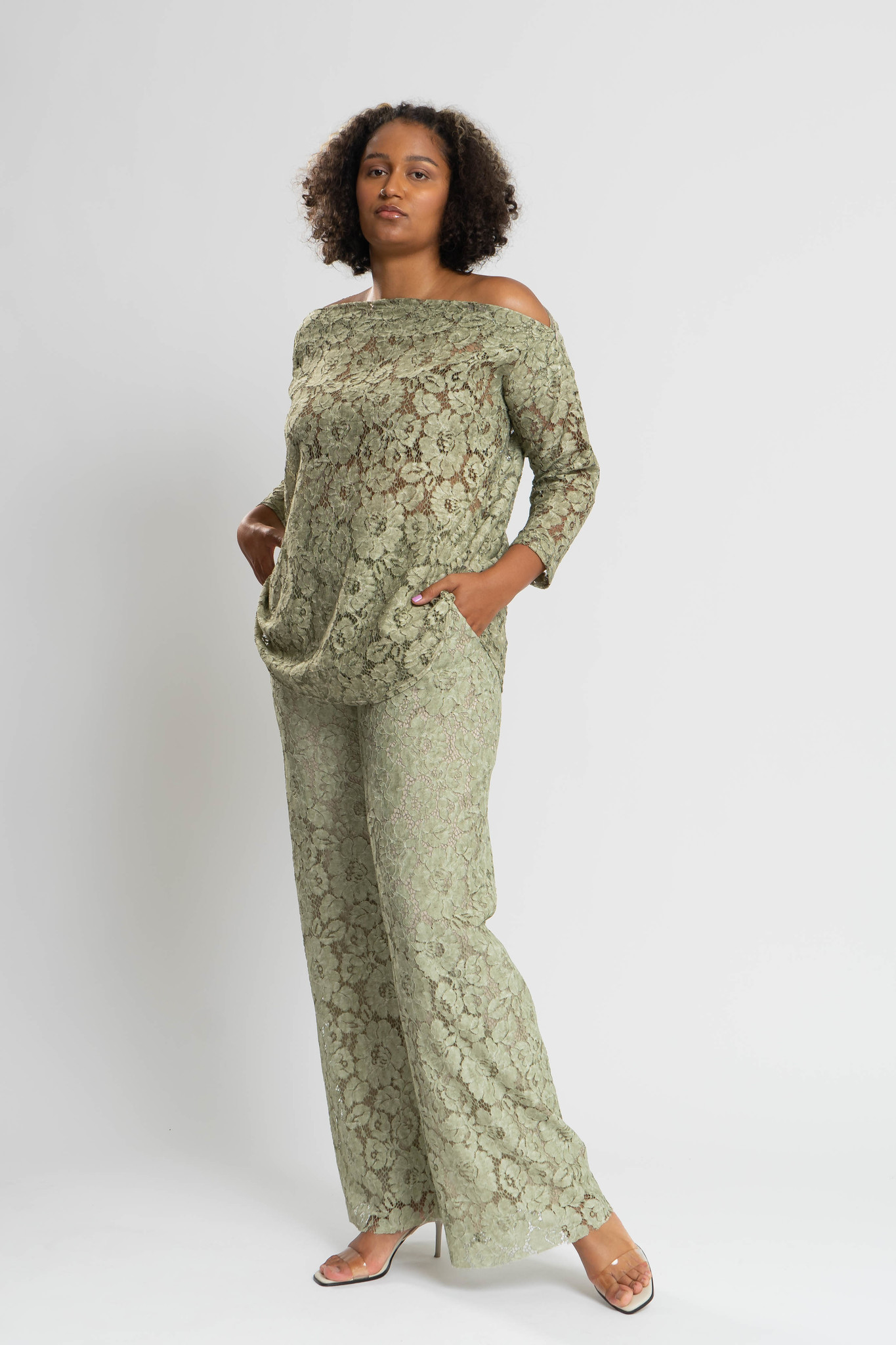 TAINA Lace Trousers in Polyester-3