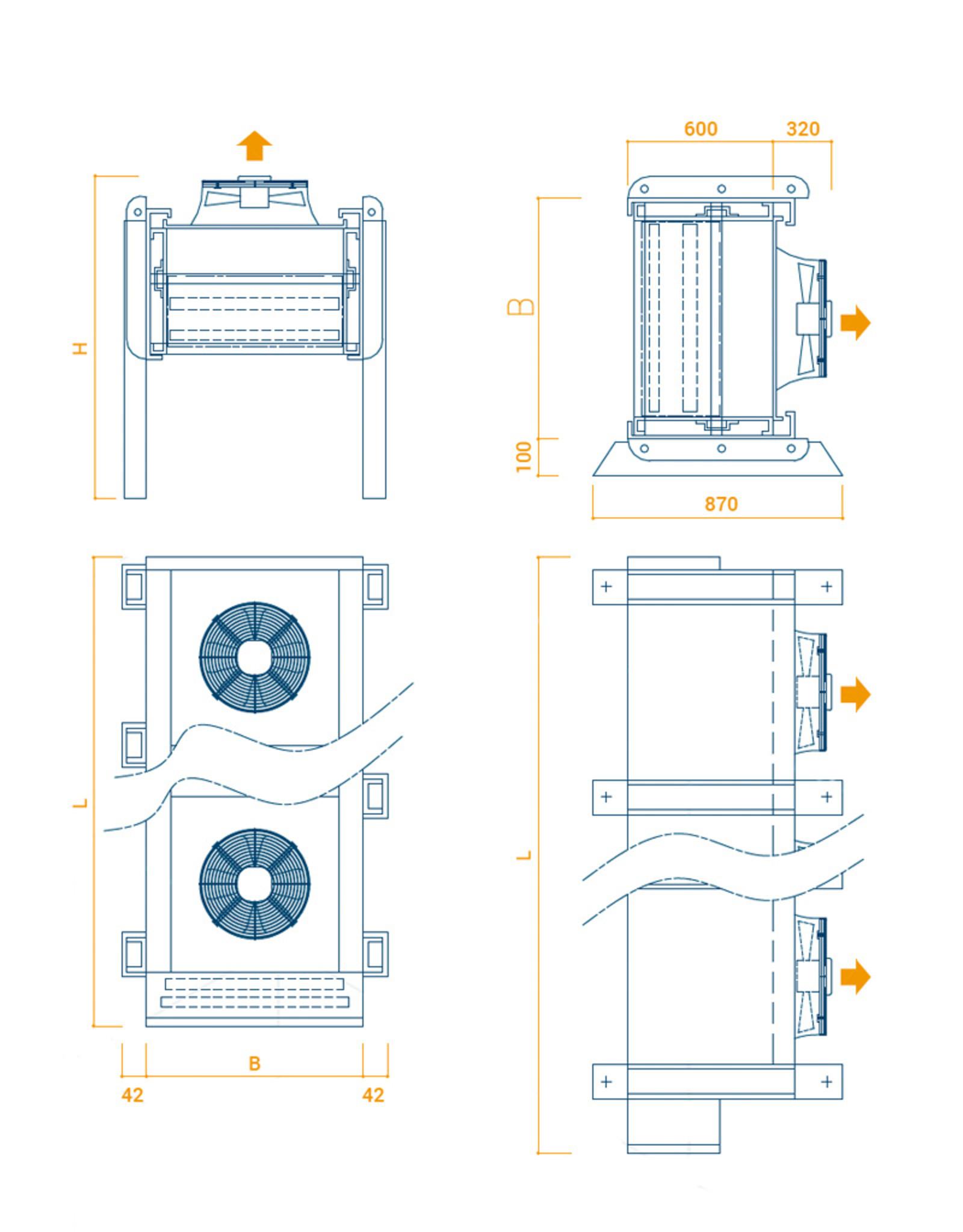 OptiClimate OptiClimate Industriële watergekoelde airconditioning - horizontaal formaat