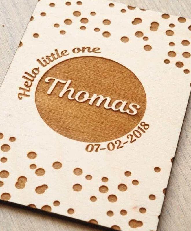 """Geboortekado met Naam - Houten Geboorteposter """"Thomas"""""""