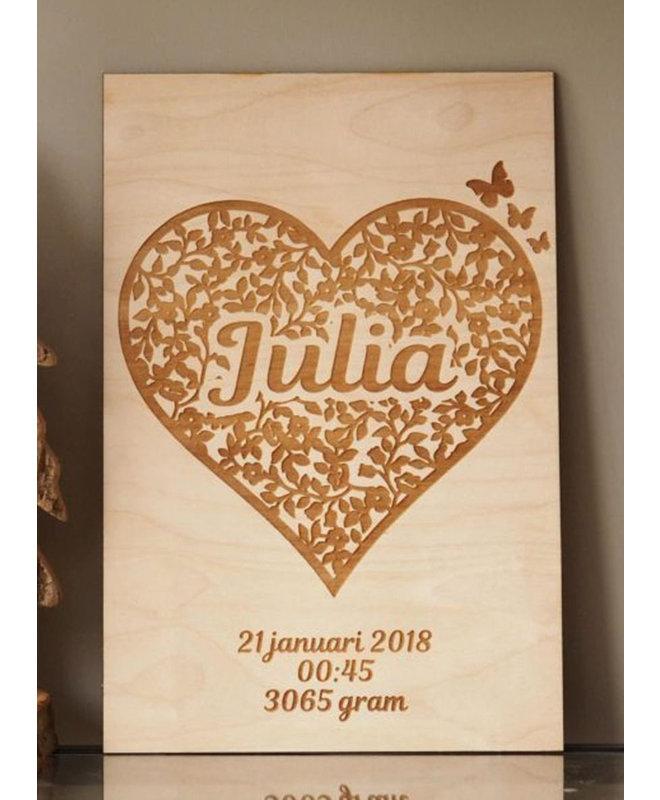 """Kraamcadeau Meisje - Houten Geboorteposter """"Julia"""""""