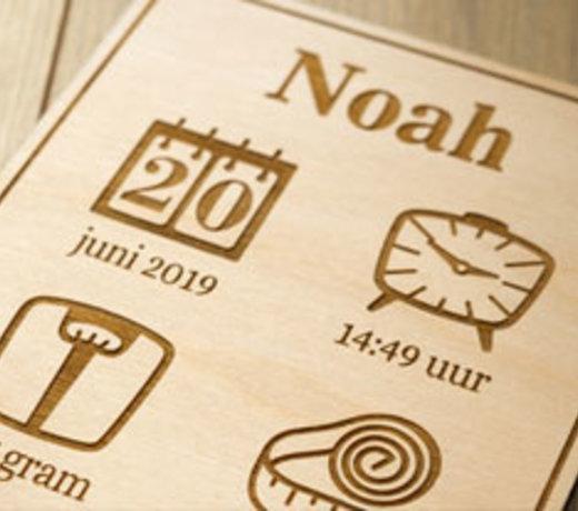 Geboorteposter van Hout | Een uniek kraamcadeau met naam