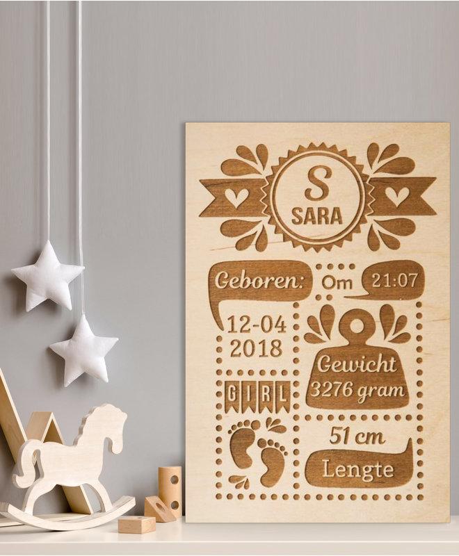 "Baby Cadeau - Houten Geboorteposter ""Sara"""