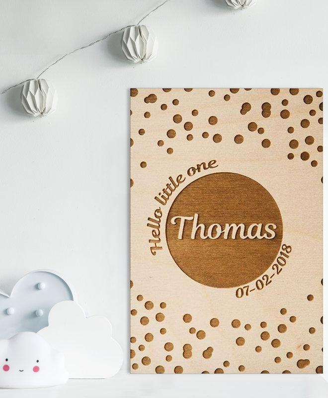 "Houten Geboorteposter ""Thomas"""