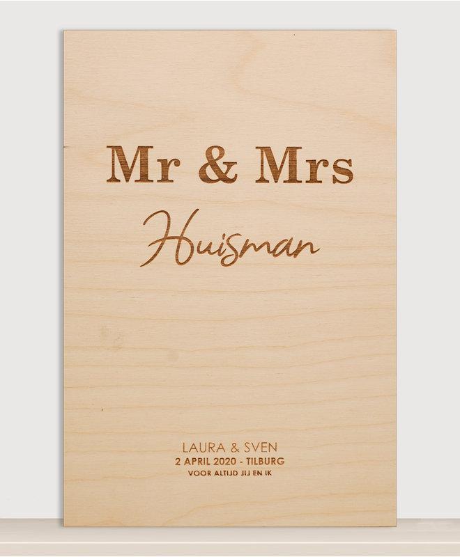 Houten Bruiloft Poster - Mr & Mrs met Achternaam en Trouwdatum