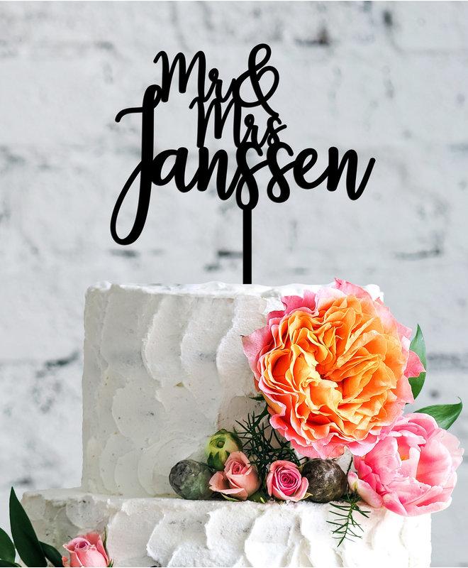 Gepersonaliseerde taarttopper met Naam - Mr & Mrs Modern