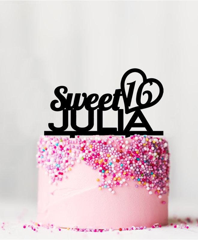 Taarttopper Sweet 16 met Naam