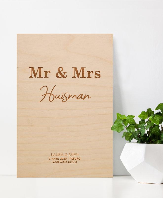 Houten Poster - Bruiloft Mr & Mrs