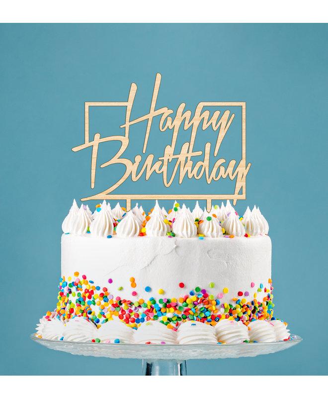 Taarttopper Happy Birthday in Rechthoek