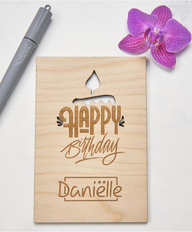 Houten Kaart - Happy Birthday met Naam