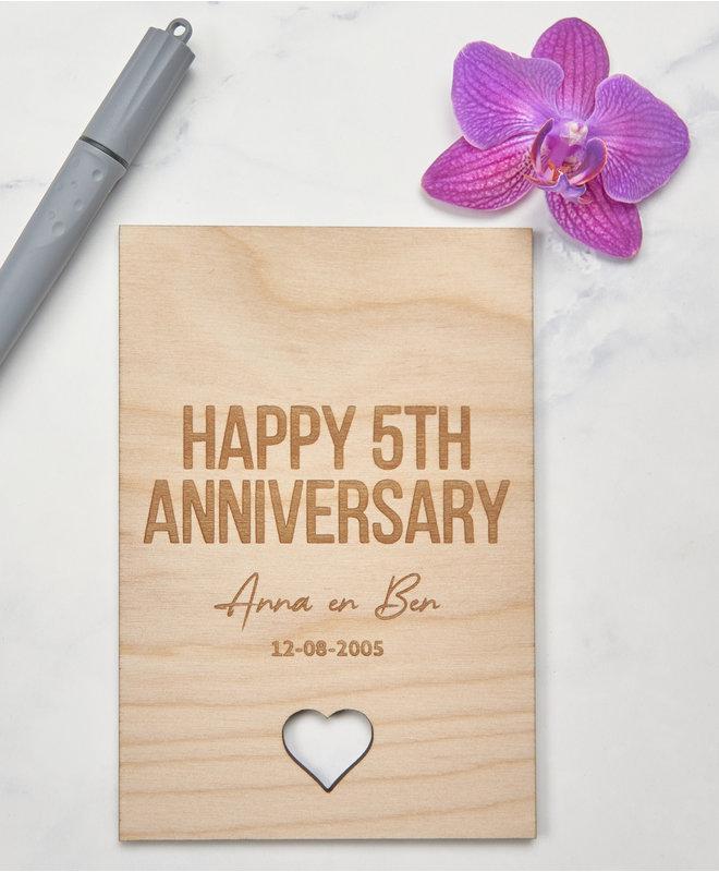 Houten Kaart - Happy Anniversary gepersonaliseerd