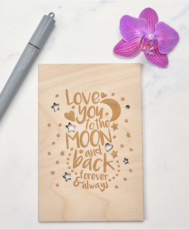Houten Kaart - Love you to the moon and back