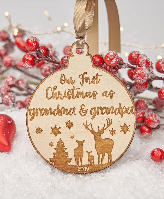 "Houten Ornament ""Grandma & Grandpa"""