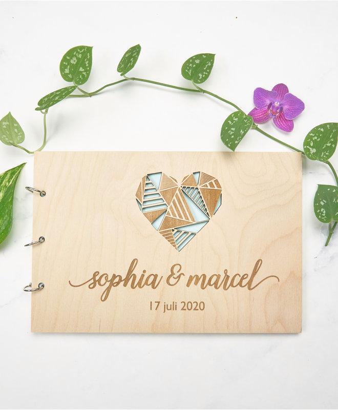 Gastenboek Bruiloft - Groot hart met namen