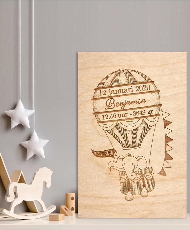 """Babykamer Decoratie - Houten Geboorteposter """"Benjamin"""""""