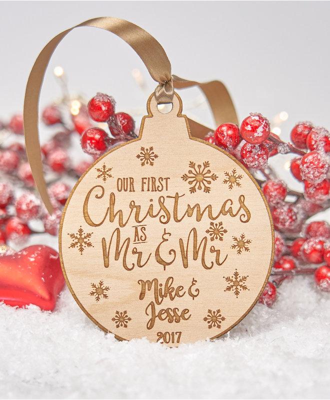 "Houten Ornament ""Mr & Mr"""