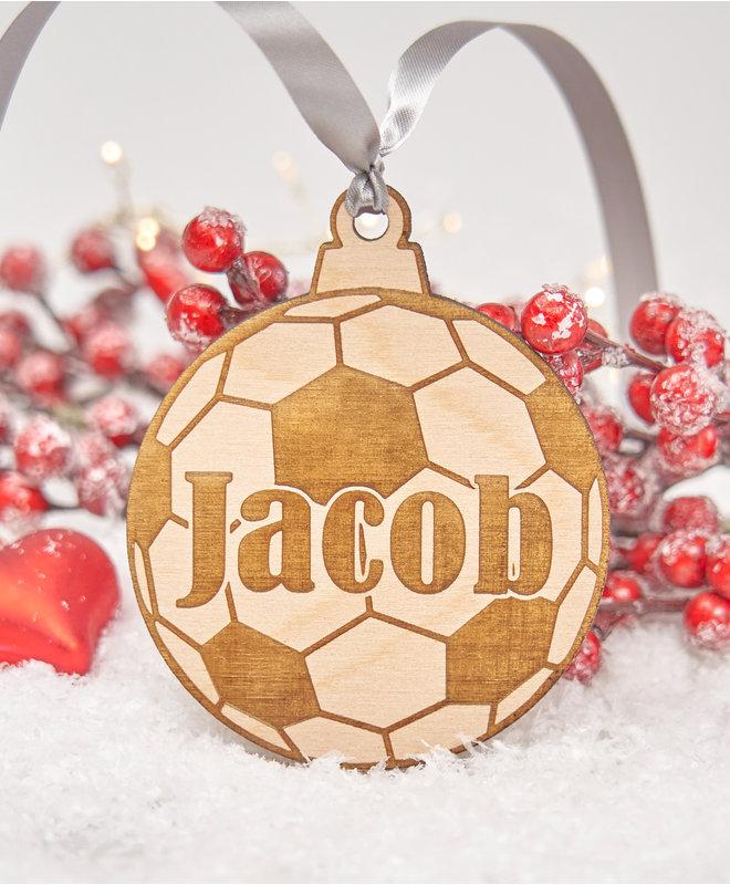 Houten Kerstbal - Voetbal met Naam
