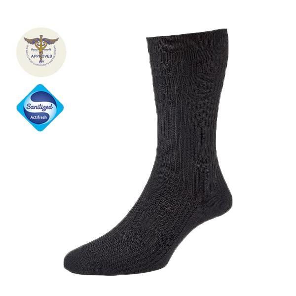 Diabet Socks 19001 Woolen Extra Wide Black Socks