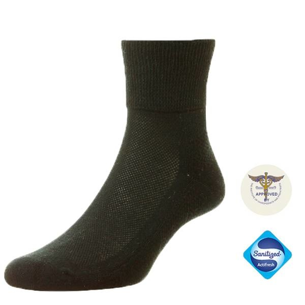Diabet Socks 135611 Cotton Black Diabetic Ankle Socks