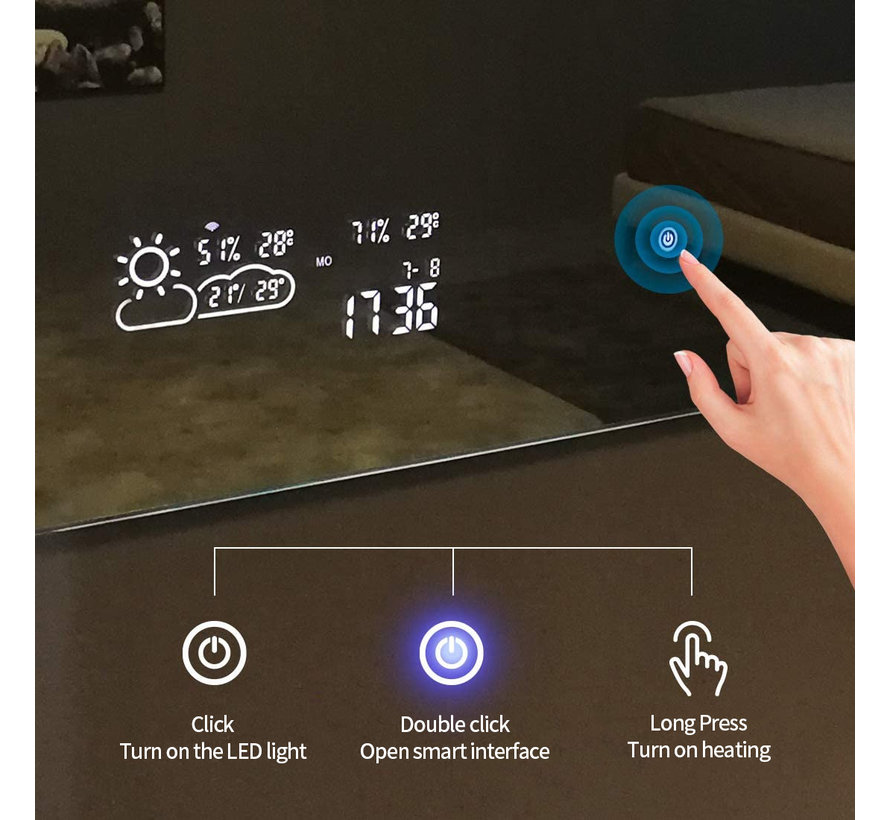 Smart spiegel met led verlichting infrarood verwarming 60X60 200Watt