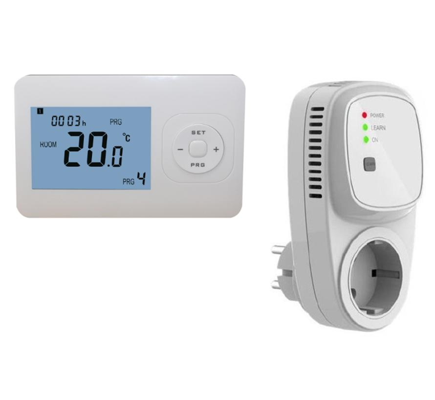 Draadloze programmeerbare thermostaat RF-OPTIMA inclusief PLUG in ontvanger-Randaarde (NL)