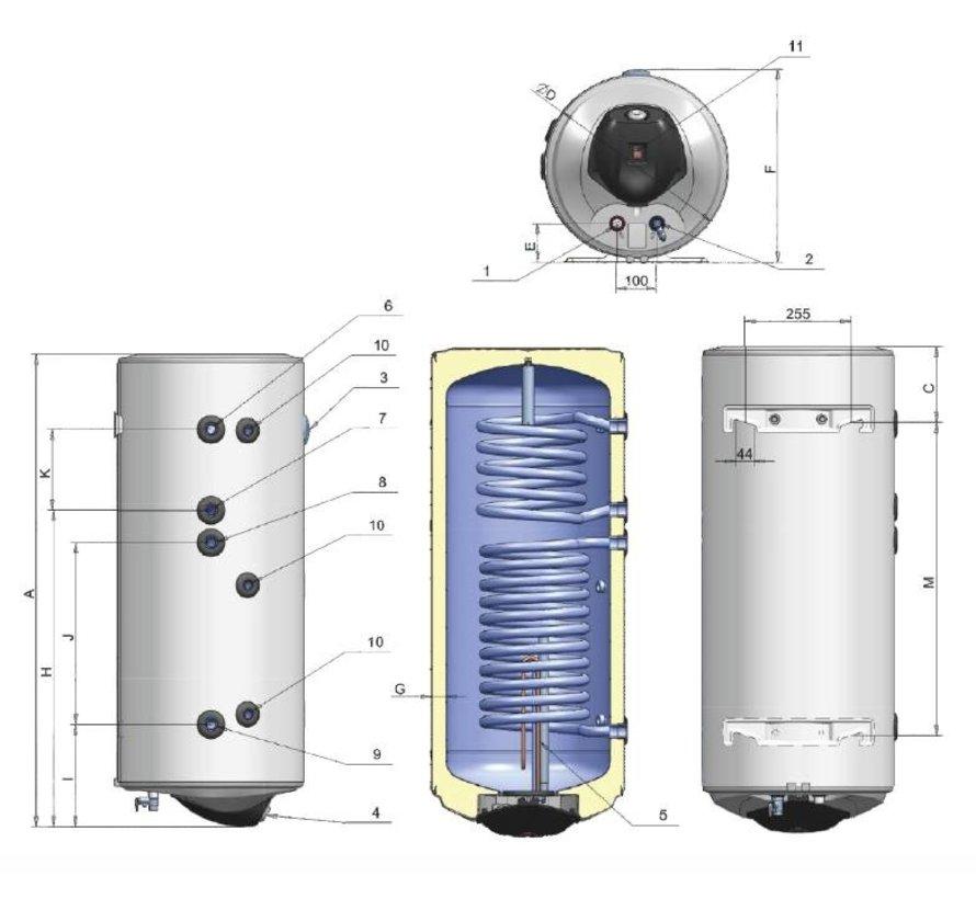 ELDOM Green Line 120L. boiler met 2 warmtewisselaars en digitale bediening