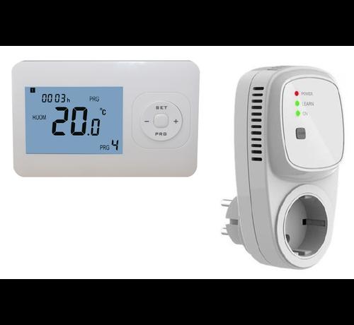 Quality Heating Draadloze programmeerbare thermostaat RF-OPTIMA inclusief PLUG in ontvanger-Randaarde (NL)